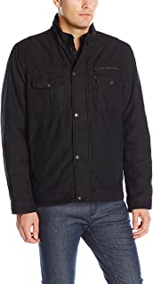 Men's Washed Cotton Two Pocket Sherpa Lined Trucker Jacket