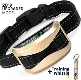 Dog Bark Collar Rechargeable - Barking Collar for Mediam Large Dogs - Anti Barking Device - New Model with Safe Shock Vibration and Beep - Humane and Effective Stop Bark Control