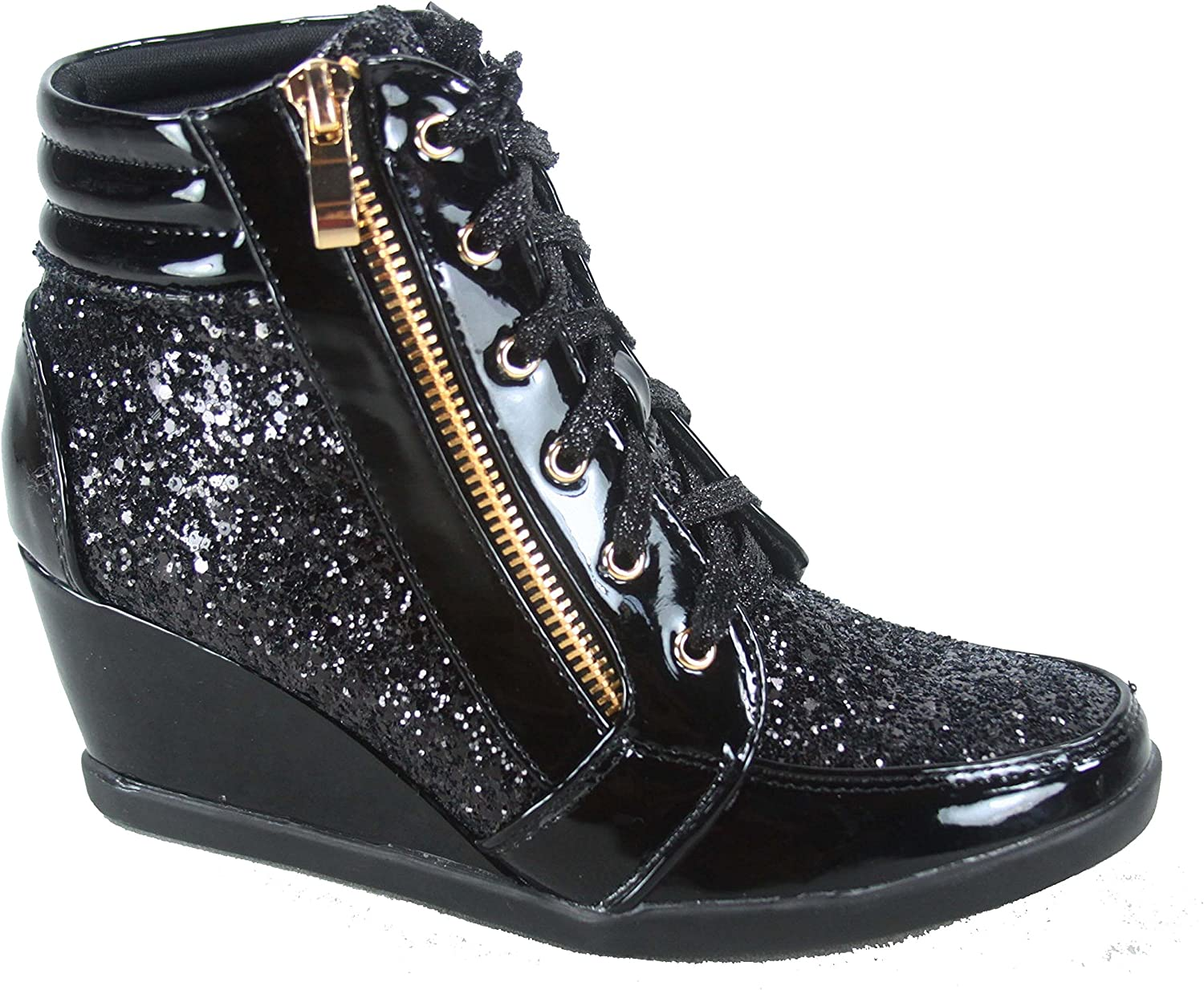 Forever Link Women's Fashion Glitter High Top Lace Up Wedge Sneaker Shoes