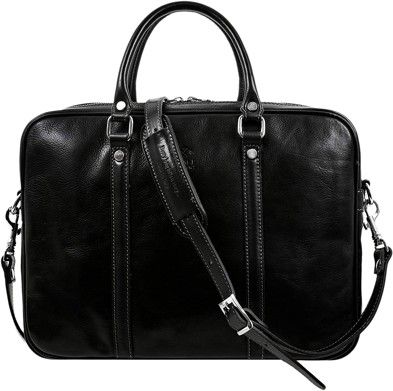 Leather Briefcase Max 40% OFF Bag OFFicial shop Slim Full Laptop Grain B Messenger