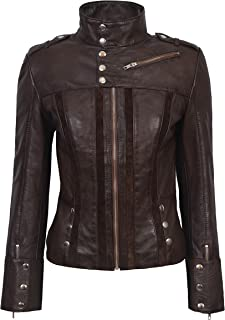 Carrie CH Hoxton Señoras Chaqueta de Cuero Real Diseñador de Moda 100% Piel de Cordero Parche Delantero Biker Estilo 4520