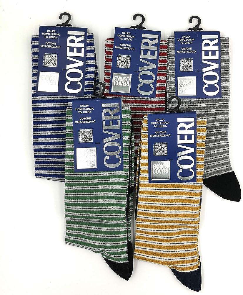 Enrico coveri, 5 paia di calze lunghe per uomo,  in cotone leggero COVERI CALZE ESTIVO2