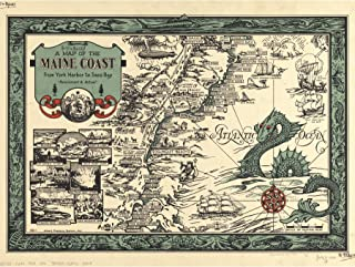 Button 1929 Pictorial Map Maine Coast History Large Wall Art Print Canvas Premium Mural