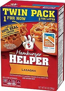 Betty Crocker Dry Meals Hamburger Helper Lasagna Pasta and Italian-Style Sauce Mix Twin Pack, 14.1 Ounce