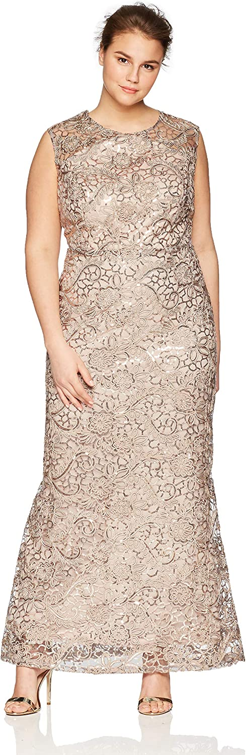 Ignite Womens PlusSize Plus Size Sequined Lace Gown Dress