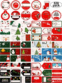 528 Pieces Christmas Tags Self Adhesive Xmas Name Tags Decorative Presents Labels Stickers with Santa Snowmen Christmas Tree Elk Design for Christmas Birthday Wedding Gift