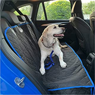 Luxury Dog Car Seat Cover with Dog Seat Belt, Nonslip Bench Seat Cover Compatible with Middle Seat Belt and Armrest, Heavy...