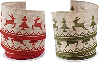 Holiday Reindeer Red & Green Linen Wired Ribbon #40 - Set of 2 Rolls