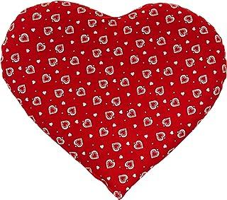 Coussin aux noyaux de cerises en forme de coeur environ 30x25cm rouge avec des coeurs - Coussin Thermique - Coussin aux gr...