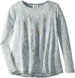 People's Project LA Kids - Arrow Foil Knit Long Sleeve Top (Big Kids)