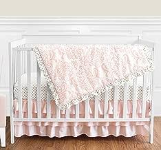 Blush Pink White Damask and Gold Polka Dot Amelia Girl Baby Bedding 4 Piece Crib Set Without Bumper