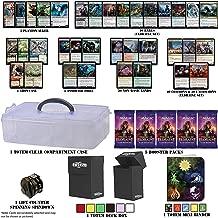 Totem World Throne of Eldraine Deck Builder Toolkit Box: Showcase, Planeswalker, Booster Packs, Rares, Basic Lands, Uncommon Common Foil MTG Cards + Compartment Case Deck Box Mini Binder