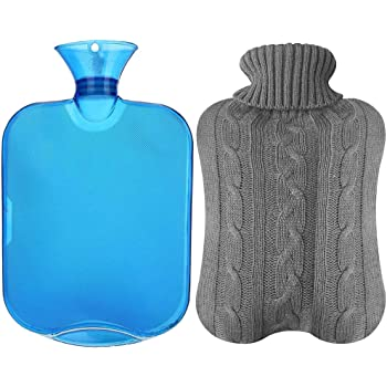 All one tech Transparent Classic Rubber Hot Water Bottle with Knit Cover - Blue