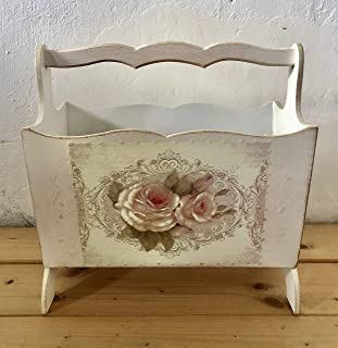 Portariviste in legno decorato a mano con rose, bianco