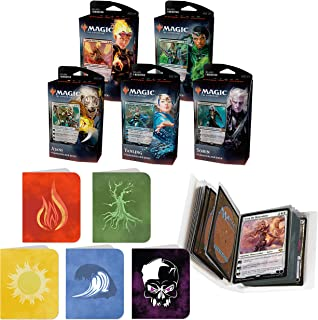Totem World Core Set 2020 All 5 Planeswalker Decks of Magic The Gathering With 5 Totem Mana Symbol Mini Binder Collectors Album - Five Decks for M20 Lot Bundle
