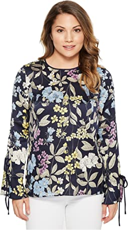 Petite Long Sleeve Flare Cuff Country Floral Blouse
