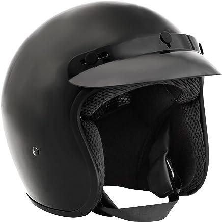 Fuel Helmets Combustible Cascos Casco de Cara Abierta, Motorcross-Motocicletas, Negro Satinado, Pequeño
