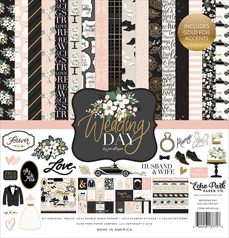 Echo Park Paper Company WD181016 Wedding Day Collection Kit Paper Green, Pink, Cream, Black, Grey