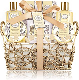 Bath & Shower Spa Gift Basket Set, with English Pear & Freesia Fragrance Bath Gift Basket for Women & Men Includes Body Lotion, Shower Gel, Bath Salts, Bubble Bath, Body Scrub and More, 8 Pcs