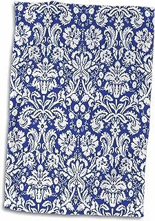 3D Rose Royal Blue and White Damask Pattern-Stylish Elegant Victorian Vintage French Floral Swirls-Navy Towel, 15