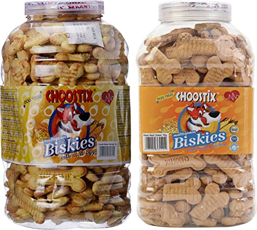 Choostix Combo of Egg Biskies, 1 Kg (Jar) & Chicken Biskies, 1 kg (Jar)