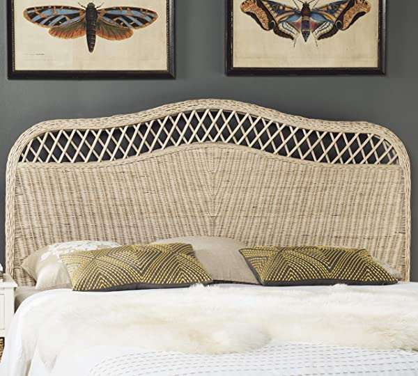 Safavieh Home Collection Sephina White Washed Rattan Headboard Queen