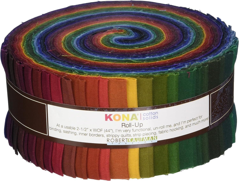 Robert Kaufman Fabrics RU23241 Kona Cotton Solids New Dark Roll Up 41 2.5inch Strips Jelly Roll