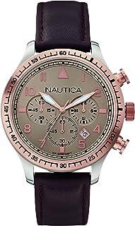 NAUTICA MEN'S 44MM BROWN LEATHER BAND STEEL CASE QUARTZ ANALOG WATCH A17656G
