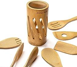ملاعق خشبية للطبخ، مجموعة من 7 فص، أواني طهي الخيزران العضوي، مجموعة أواني المطبخ غير لاصقة، ملاعق وملعقة خشبية، جيلا-هلا