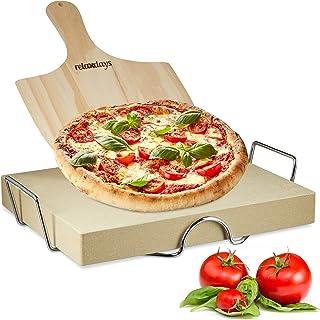 Relaxdays Ensemble de pierre à pizza de 5 cm d'épaisseur avec support en métal et poussoir à pizza en bois HWD : 30x38x5 cm