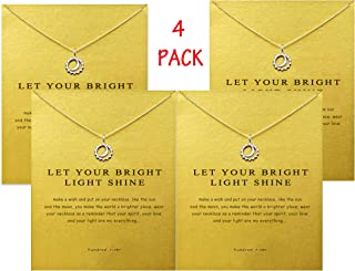 Friendship Clover Necklace Unicorn Good Luck Elephant Necklace with Message Card Gift Card (4pack)