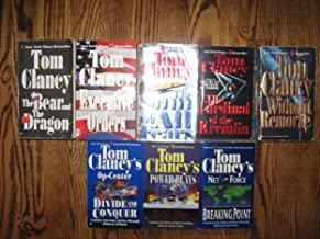 (8 BOOKS) by Tom Clancy; Without Remorse, The Cardinal of the Kremlin, The Sum of all Fears, Exeutive Orders, The Bear and the Dragon, Net Force, Cold War, & Op Center