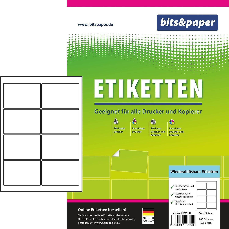 Bits&Paper EW7021L Universal-Etiketten (ablösbar (A4 (A4 (A4 (800 Etiketten, 100 Blatt) Weiß B07CTKXVT2  | New Products  ea2eeb