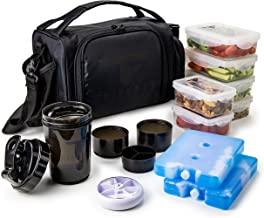 Insulated Meal Prep Lunch Box with 6 Food Portion Control Containers - BPA-Free, Reusable, Microwavable, Freezer Safe - Wi...