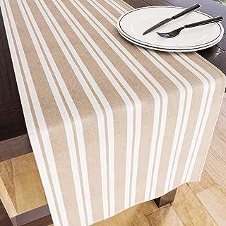 Encasa Homes Chemin de Table pour Salle à Manger 8 Places - Franca Beige Stripes - Grand 35 x 264 cm, Coton écologique, Ti...