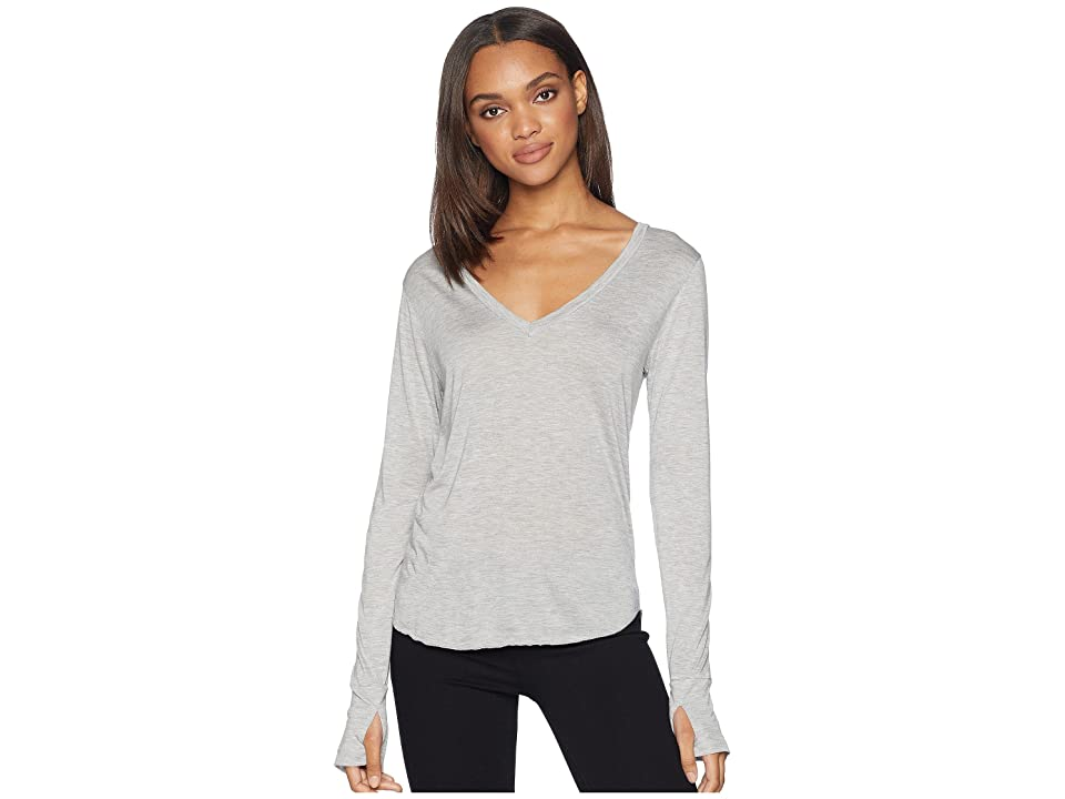 LNA Drapey Modal Long Sleeve V-Neck (Heather Grey) Women