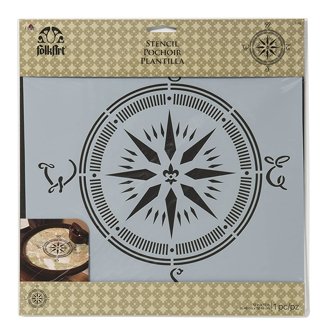 FolkArt Painting Stencil, 12 by 12-Inch, 31598 Compass
