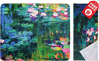 Claude Monet Water Lilies VI Mouse Pad with Colorful Classic Artwork Design. Non Slip Base. Matching Microfiber Cleaning C...