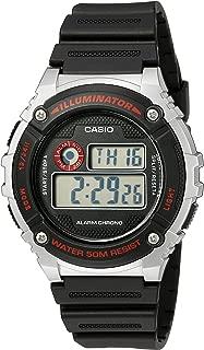 Men's 'Illuminator' Quartz Resin Watch, Color:Black (Model: W-216H-1CVCF)