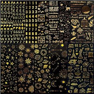 12 Feuilles Stickers Vintage Or Auto Adhésif, Autocollants Chiffres 3D Étoiles Feuilles Planète, Autocollants de Scrapbook...