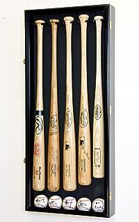 5 Baseball Bat Display Case Cabinet Holder Wall Rack w/98% UV Protection - Lockable