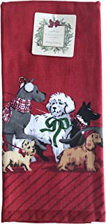 Ridgefield Home Holiday Collection Fancy Dogs Set of Two Chic Red Kitchen Towels 18