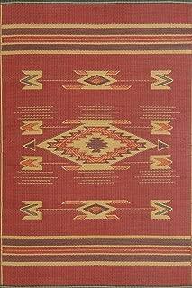 Mad Mats Navajo Indoor/Outdoor Floor Mat, 5 by 8-Feet, Dark Red