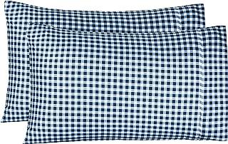 AmazonBasics Light-Weight Microfiber Pillowcases - 2-Pack, King, Gingham Plaid