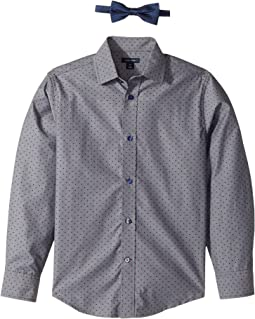 Long Sleeve Stretch Shirt with Bowtie (Big Kids)