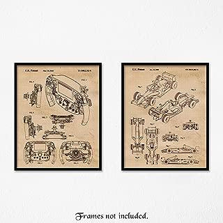 Original Ferrari F1 Racing Patent Poster Prints, Set of 2 (8x10) Unframed Photos, Great Wall Art Decor Gifts Under 15 for Home, Office, Garage, Man Cave, College Student, Teacher, Formula 1 & Indy Fan