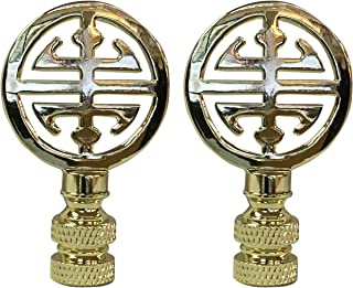Royal Designs Oriental Happiness Symbol Lamp Finial for Lamp Shade- Polished Brass Set of 2