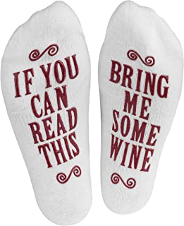 "Women's Novelty Socks - ""If You Can Read This, Bring Me Some"" (Wine, Chocolate, Coffee) Novelty Socks"