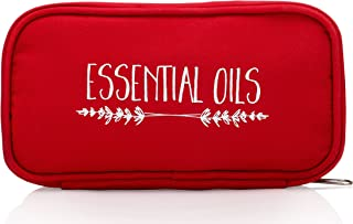 "Essential Oils Carrying Case – Red ""Cinnamon Branches"" – Fits TEN 15ml Bottles – (Can hold 10ml & 5ml bottles as well) – Y..."