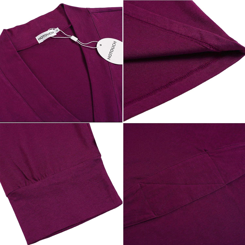 Hotouch Women Kimono Robes Cotton Lightweight Robe Short Knit Bathrobe Soft Sleepwear Ladies Loungewear S-XXL